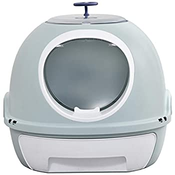 Pawhut Maison de Toilette Portable pour Chat tiroir à litière Coulissant Porte battante Lucarne + Pelle fournis dim. 47L x 55l x 44H cm Bleu