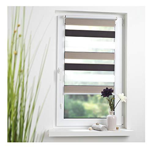Liedeco® DUO Rollo Klemmfix - 120 x 160 cm braun/beige/weiß (Breite x Höhe) / 3 farbig / transparent lichtdurchlässig stufenlos verstellbar / leichte Montage ohne Bohren / Doppelrollo farbig zum Klemmen fürs Fenster in vielen Farben und Größen