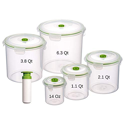 Lasting Freshness 11 Piece Vacuum Seal Food Storage Container Set, Canister Cylinder