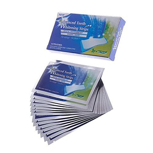 Caja de 14 tiras blanqueadoras dentales con sabor a menta, blanqueamiento dental y delicado.