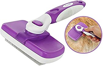 Poodle Pet Self Cleaning Slicker Dog Brush and Cat Brush-Easy to clean Dog grooming Brush Removes Tangles, Loose Hair, Best Dog Slicker Brush for Dogs ,Cats ,Rabbits, Poodles, (Soft Pins)