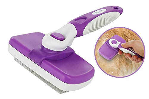 Poodle Pet Self Cleaning Slicker Dog Brush and Cat Brush-Easy to clean Dog grooming Brush Removes Tangles, Loose Hair, Best Dog Slicker Brush for Dogs...