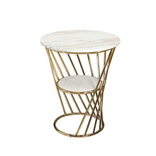 YUMEIGE-MESAS Mesa Final Irregular, Mármol De Doble Capa, Mesa Auxiliar De Café Mesa Auxiliar , Adecuado For Sala De Estar Oficina (círculo, Blanco) ( Color : Gold+White , Size : 15.74*15.74*19.68in )