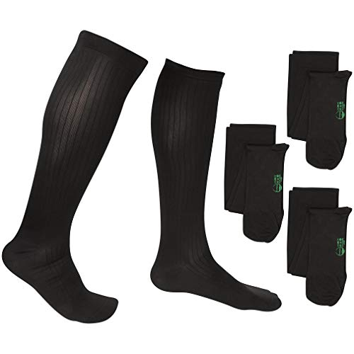3 Pair EvoNation Men's Travel USA Made Graduated Compression Socks 8-15 mmHg Mild Pressure Medical Quality Knee High Orthopedic Support Stockings Hose - Best Comfort, Fit, Circulation (Large, Black)