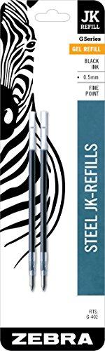 Zebra F-402 Stainless Steel Pen JK-Refill, Fine Point, 0.5mm, Black Ink, 2-Count