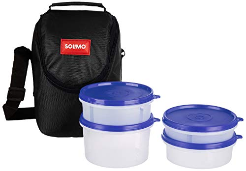 Amazon Brand - Solimo Plastic Lunch Box with Bag, Set of 4, Black