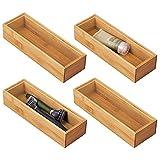 mDesign Juego de 4 cajas organizadoras para el baño – Práctico cajón organizador de bambú – Caja de madera de para organizar maquillaje, maquinillas, lociones y más – color natural
