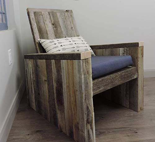 Rustic Industrial Modern Adirondack'RustInDack' Chair Full Size Reclaimed Barn Wood Indoor Outdoor Chair Patio, Porch, Living Room