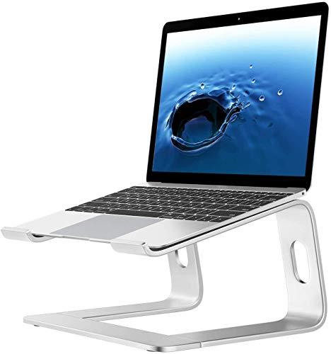 Burhetten Tabella Notebook Stand Laptop Stand Supporto per Laptop Alluminio Portabicchiere ventilato Portabicchiere Portatile per 10 Pollici ~ 15,9 Pollici - Argento