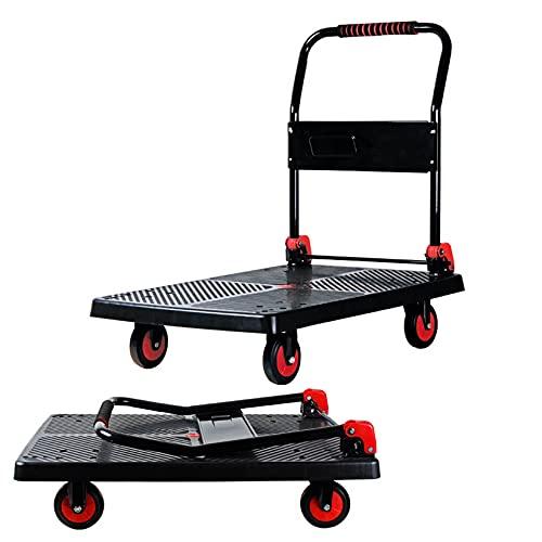 Push Cart Push Platform Truck Folding Rolling Flatbed Cart Foldable Handle 360 Degree Swivel Wheels Trolley,Load Bearing 300KG