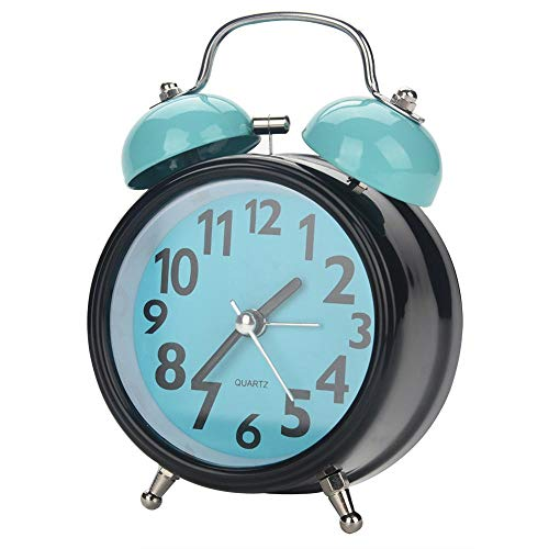 Fdit – Reloj despertador mecánico con doble campana, movimiento de cuarzo ultra silencioso, reloj de…