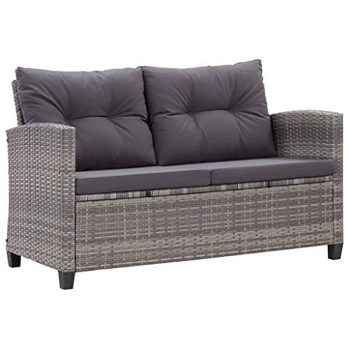 vidaXL Gartensofa 2-Sitzer mit Kissen Lounge Sofa Gartenmöbel Gartenbank Bank Rattansofa Balkon Terrasse Garten Grau 124cm Poly Rattan