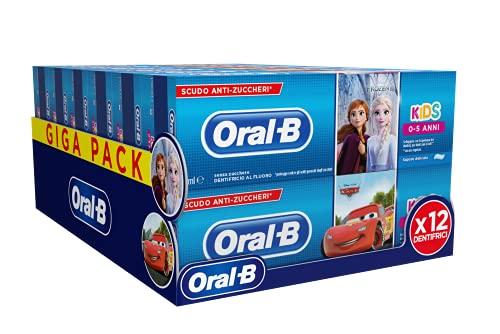 Oral-B Dentifricio per Bambini Kids Frozen & Cars 75ml, Confezione da 12 Dentifrici