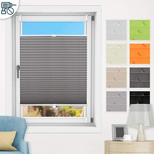 N A klemmfix Plissee ohne Bohren, Anthrazit 70x100cm(BxH) Faltrollo mit Klemmträger, abdunkelnde Plissees zum Klemmen, Blickdicht Plisseerollo für Fenster & Tür