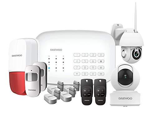 DAEWOO Pack Premium | Alarme Maison sans Fil WiFi/GSM connectée | Sirène extérieure | 2 Caméras | Compatible avec Amazon Alexa, l'Assistant Google