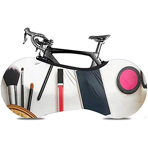 L.BAN Sweet-Heart Fahrrad Radabdeckung, Protect Gear Reifen Fahrradabdeckung - Bunte Kosmetik Draufsicht auf weißen Tisch Arbeitsplatz Lippenstift