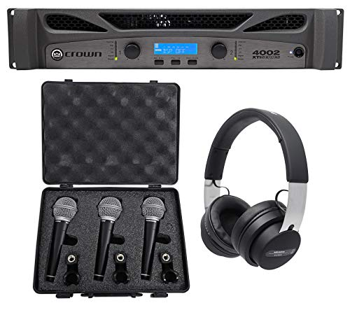 Review Of Crown Pro XTI4002 XTI 4002 3200w DSP Amplifier+Audio Technica Headphones+3) Mics