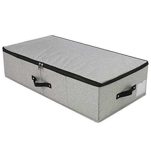 Caja de almacenamiento plegable debajo de la cama con soporte de plástico, asas, tapa con cremallera, mantas, edredones de ropa, organizador de armario para dormitorio, 74,5 x 38 x 18 cm, gris oscuro