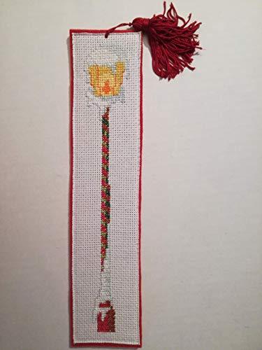Segnalibro in feltro rosso - punto croce - cross-stitch - lampione - neve