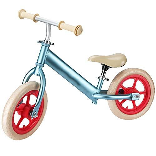 Wushu Bicicleta De Equilibrio 10 Pulgadas Aluminio Ligero First Bike para Niños De Bicicleta Sin Pedal para para Niños De 2, 3, 4, 5 Años Asiento Ajustable(Color:Azul)