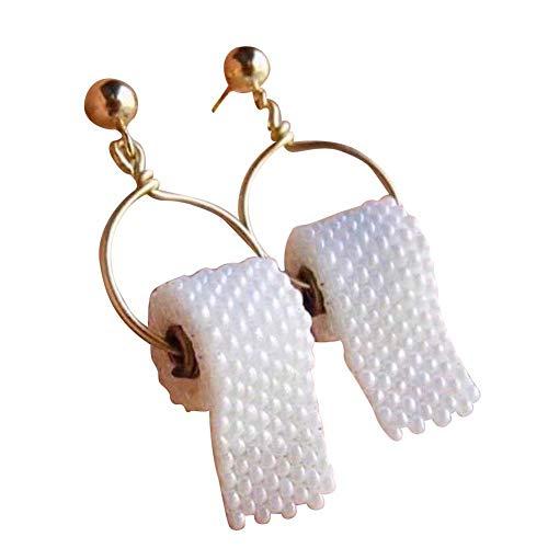 Toilettenpapier Ohrringe Einzigartige Rolle Papier Ohrrolle Papier Ohr Ohrentropfen Kreative Frauen Ohrhaken von Holo Cute