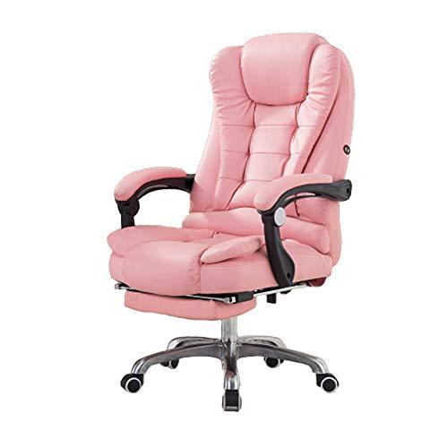 PU Leder Computer Home Office Stuhl Liegender Boss Gaming Stuhl, Fußstütze + USB Massage- pink