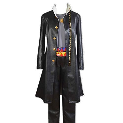 ULLAA Anime Jojos bizarres Abenteuer Kujo Jotaro Leder Windbreaker Mantel Uniform Anzüge mit Zubehör von hoher Qualität