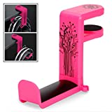 ENHANCE PC Gaming Headphone Holder Headset Hanger Mount - Headphones Stand with Adjustable 360 Rotating Arm, Under Desk Clamp On Design, Universal Fit, & Built in Cable Clip Organizer - Pink