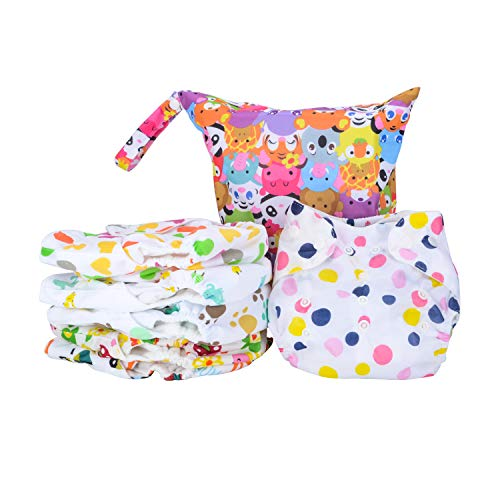 6 PCS Cloth Diapers for Babies Diapers Washable One Size Adjustable Cloth Diapers Reusable Suitable for 1-3 old year Babies, with a Diaper Bag