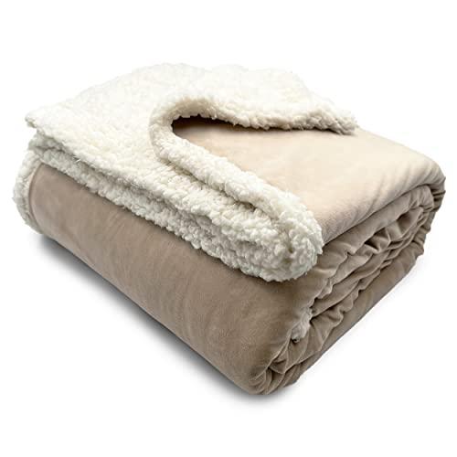 HTE Manta de Doble Cara para sofá y Cama de Tela Sherpa y Microfibra Caliente y Suave (Beige, 160 x 220 cm)