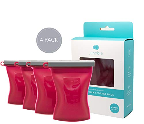 JUNOBIE Bag 4-Pack | Reusable Breastmilk Storage Bags | Food Grade Silicone Pouches to Grow with Your Baby | Multi-Use: Milk Storage Container, Baby Food Pouch & Toddler Snack Pack (Raspberry | 8oz).
