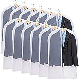 Niviy 12 Pcs Fundas para Ropa Transparentes de 100 x 60 cm Tejido Transpirable de Alta Calidad para Miento de Trajes Vestidos Abrigos Camisas Borde Blanco