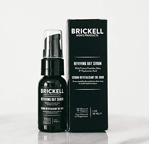 41ZqS4lEO5L - Brickell Men's Anti Aging Reviving Day Face Serum for Men, Natural and Organic Serum For Face with Hyaluronic Acid, Protein Peptides to Restore Firmness and Stimulate Collagen, 1 Ounce, Unscented