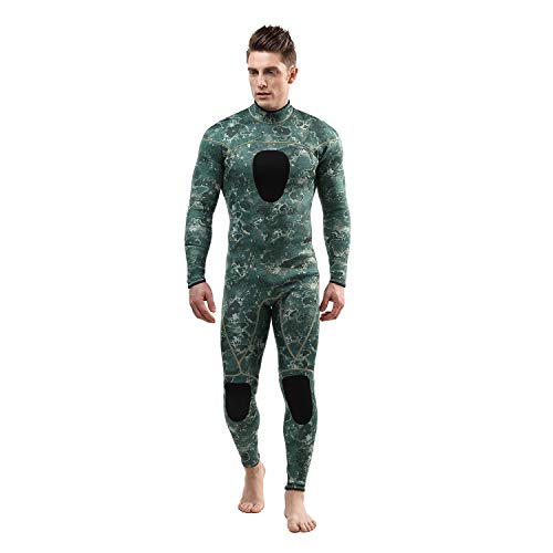 Mens Wetsuits 3MM Camo Neoprene Scuba Diving Unisex One Piece Sport Skin Spearfishing Full Suit (3MM, L)