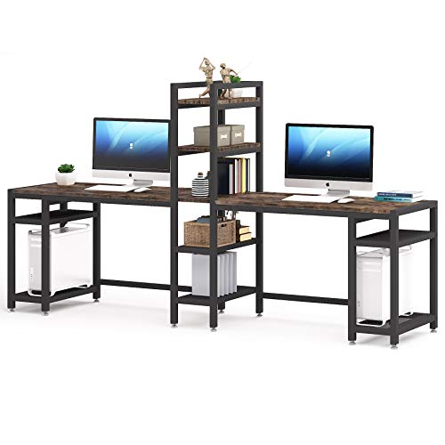 96.8 inches Computer Desk, Extra Long Two Person Desk with Storage Shelves and Tower Shelf, Double Workstation,Study Writing Desk for Home Office