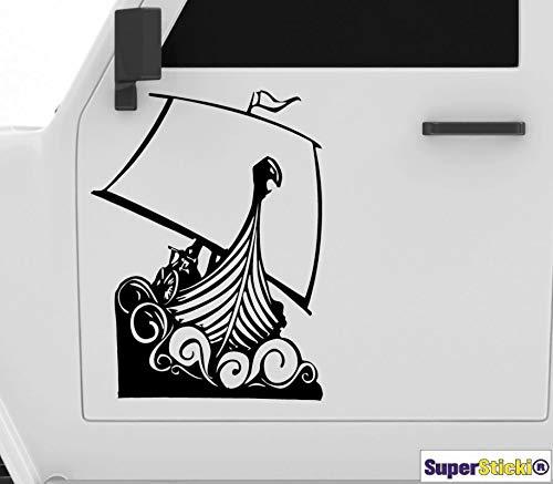 SUPERSTICKI Pegatina de vinilo de alto rendimiento para coche, diseño de barco vikingo, 40 cm