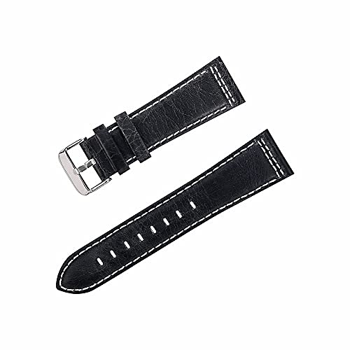 Weimingshop Reloj de Bolsillo Reloj Banda Correa Reloj Correas Cuero Mujeres Hombres Reloj Banda 22 mm 24 mm cinturón Vintage Reloj de muñeca Verde Negro Suave Correa de Vaca Reloj de Bolsillo de