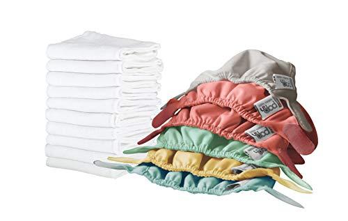 Pop-in Pañal de tela para bebé reutilizables de Tela- 6 Pcs Pañales, Ajustable y Reutilizable para Bebés con Bolsas de Almacenamiento y absorbentes, unitalla bebés y niños pequeños.