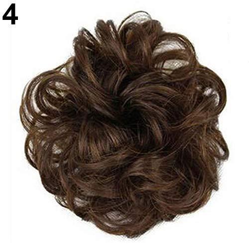 Femmes Mode Perruques Chaude Femmes Lady Ondulé Bouclés Plat Cheveux Bun Extension Postiche Chignon Chouchou Synthétique Lâche Bouclés Avant Perruque pour Femmes Naturel Résistant À La Chaleur Cheveux