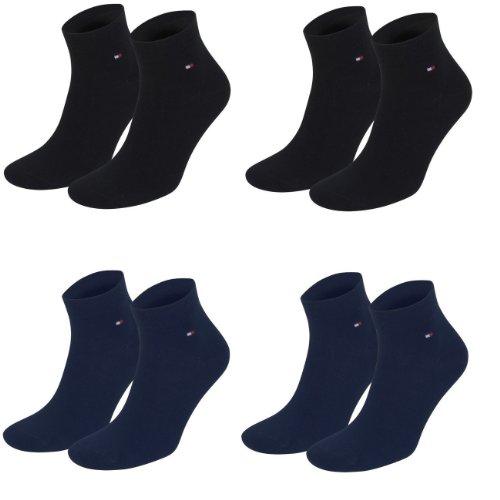 Tommy Hilfiger unisex Quarter Socken Farbkombinationen 4er Pack- Gr. 39-42, 2x Schwarz 2x Navy