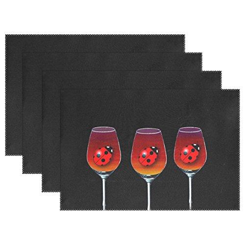 QYUESHANG Juego de 4 manteles Individuales de Cristal de Vino, Resistentes al Calor, para Mesa de Comedor, duraderos, Antideslizantes, para Mesa de Cocina