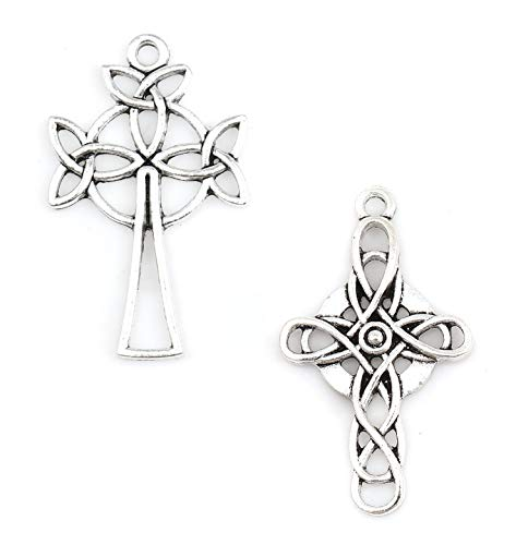 JGFinds Celtic Cross Antiqued Silver Tone Charm Set A, 40 Pack (20 of Each)