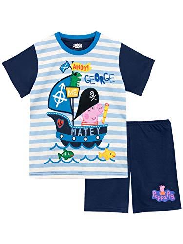 Peppa Pig Pijamas de Manga Corta para niños George Pig Azul 7-8 Años