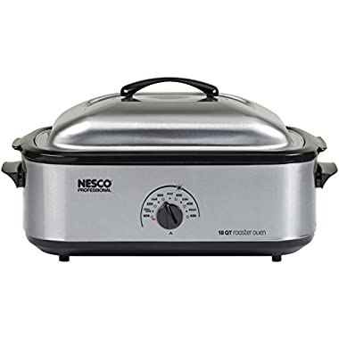 Nesco 481825PR Professional Stainless Steel Roaster Oven with Porcelain Cookwell, 18-Quart