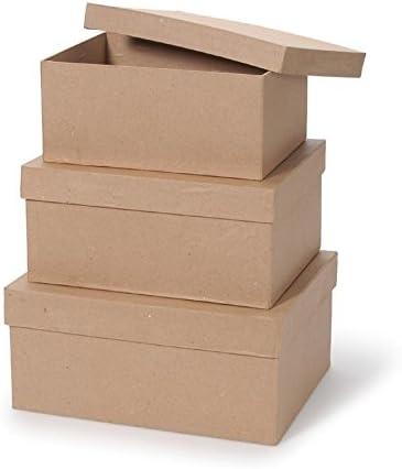 OVAL Paper Mache Gift Boxes 9x6.5x4cm Brown Papier Mache Qty-10