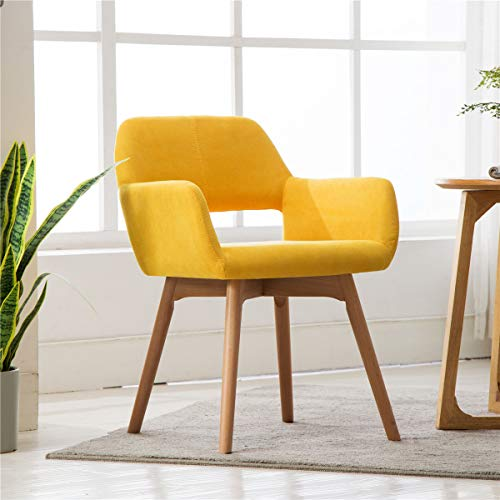 Lansen Furniture (Set of 1) Modern Living Dining Room Accent Arm Chairs Club Guest with Solid Wood Legs (Yellow)