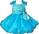 Jenniferwu G190-1 Infant Toddler Baby Newborn Little Girl's Pageant Party Birthday Dress Blue Size 6-9M