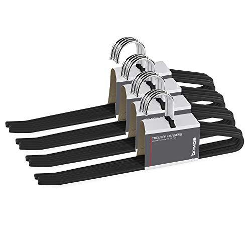 bomoe Set de 20 Perchas Pantalones Negro - Perchas de Metal con...