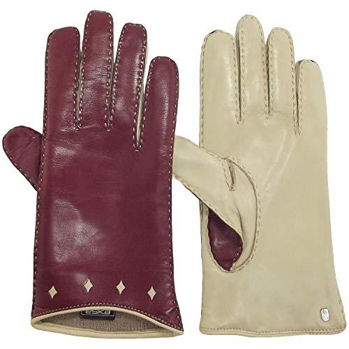 ESKA Tamira 0276 Damen Leder-Handschuhe, weinrot/beige (wine/sand), Gr. 7 1/2