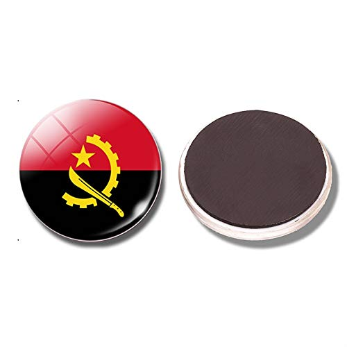 siqiwl Kühlschrankmagnet Angola Flagge 30mm Kühlschrankmagnet Cabinda Luanda Huambo Benguela Cunene Magnetische Glasnotenhalter Aufkleber